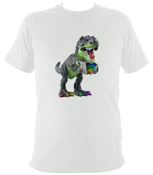 Rainbow Dinosaur Playing Accordion T-shirt - T-shirt - White - Mudchutney