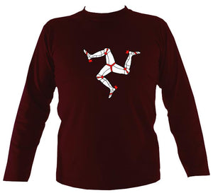 "Manx ""ny tree cassyn"" Mens Long Sleeve Shirt - Long Sleeved Shirt - Maroon - Mudchutney"