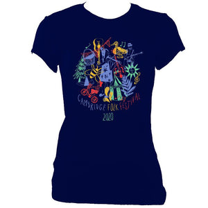 update alt-text with template Cambridge Folk Festival - Design 9 - Women's Fitted T-shirt - T-shirt - Navy - Mudchutney
