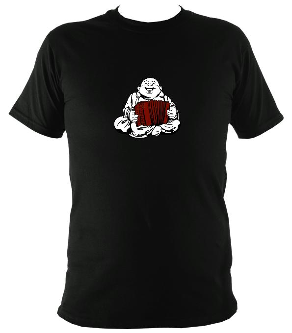 Melodeon Playing Buddha T-shirt - T-shirt - Black - Mudchutney