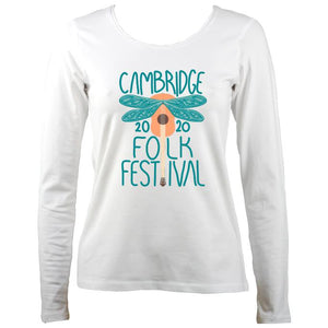 Cambridge Folk Festival - Design 1 - Women's Long Sleeve Shirt - Long Sleeved Shirt - White - Mudchutney