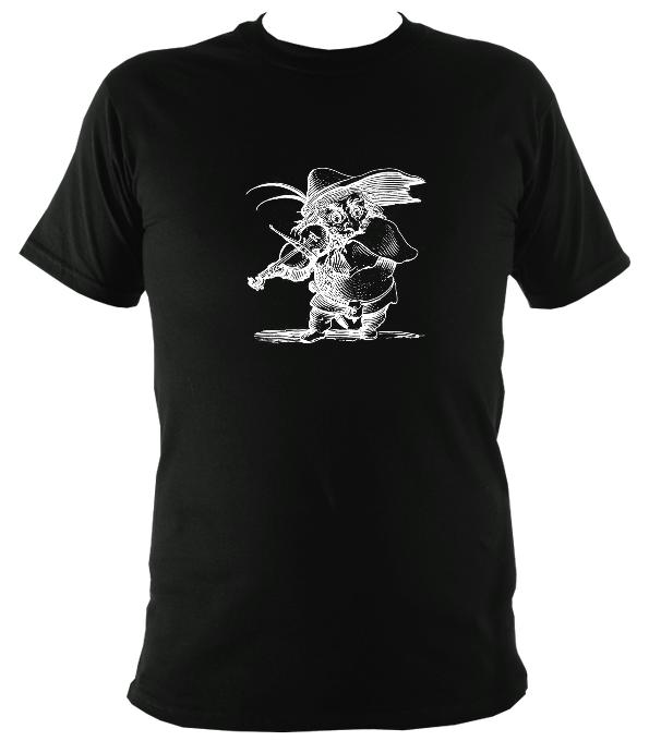 Fiddle Playing Goblin T-shirt - T-shirt - Black - Mudchutney