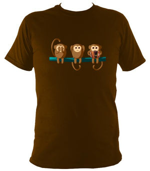 Play No Melodeon Monkeys T-shirt - T-shirt - Dark Chocolate - Mudchutney