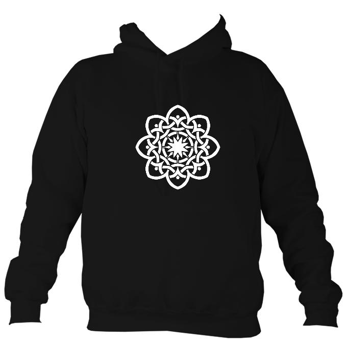 Celtic Geometric Flower Design Hoodie-Hoodie-Jet black-Mudchutney