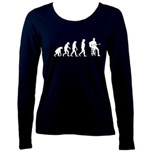 Evolution of Guitar Players Ladies Long Sleeve Shirt - Long Sleeved Shirt - Navy - Mudchutney