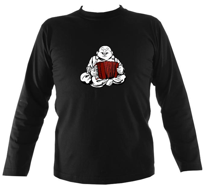 Piano Accordion Playing Buddha Mens Long Sleeve Shirt - Long Sleeved Shirt - Black - Mudchutney