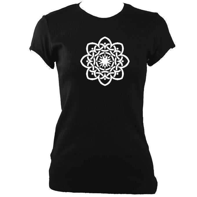 update alt-text with template Celtic Flower Ladies Fitted T-shirt - T-shirt - Black - Mudchutney