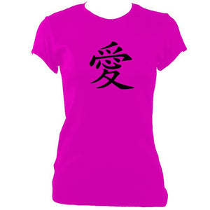 "update alt-text with template Japanese ""Love"" Symbol Ladies Fitted T-shirt - T-shirt - Heliconia - Mudchutney"