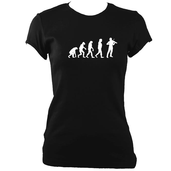 update alt-text with template Evolution of Fiddle Players Ladies Fitted T-shirt - T-shirt - Black - Mudchutney