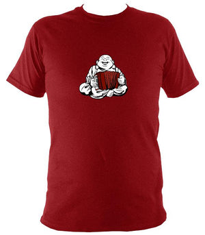 Piano Accordion Playing Buddha T-shirt - T-shirt - Antique Cherry Red - Mudchutney