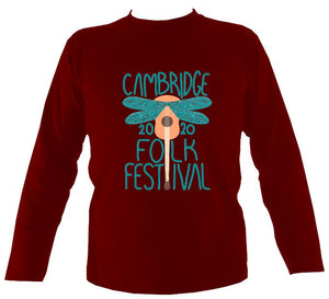 Cambridge Folk Festival - Design 1 - Mens Long Sleeve Shirt - Long Sleeved Shirt - Cardinal red - Mudchutney