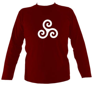 Triskelion Design Men's Long sleeve shirt in maroon