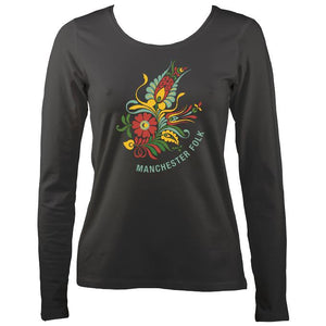 Manchester Folk Ladies Long Sleeve Shirt - Long Sleeved Shirt - Charcoal - Mudchutney