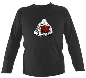 Piano Accordion Playing Buddha Mens Long Sleeve Shirt - Long Sleeved Shirt - Dark heather - Mudchutney
