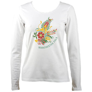 Manchester Folk Ladies Long Sleeve Shirt - Long Sleeved Shirt - White - Mudchutney