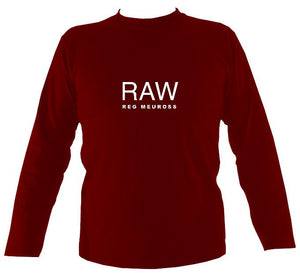"Reg Meuross ""Raw"" Mens Long Sleeve Shirt - Long Sleeved Shirt - Cardinal red - Mudchutney"