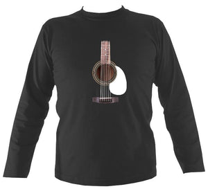 Guitar Strings and Neck Mens Long Sleeve Shirt - Long Sleeved Shirt - Charcoal - Mudchutney