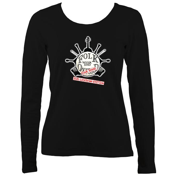 "Folk Weekend: Oxford ""2020 Lockdown Edition"" Ladies Long Sleeve Shirt - Long Sleeved Shirt - Black - Mudchutney"