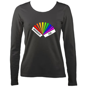 Rainbow Melodeon Ladies Long Sleeve Shirt - Long Sleeved Shirt - Charcoal - Mudchutney
