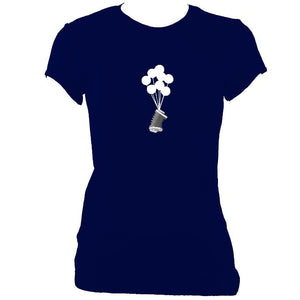 update alt-text with template Banksy Style Concertina Ladies Fitted T-shirt - T-shirt - Navy - Mudchutney