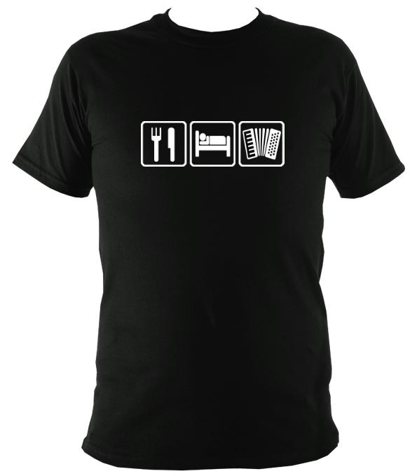 Eat, Sleep, Play Accordion T-shirt - T-shirt - Black - Mudchutney