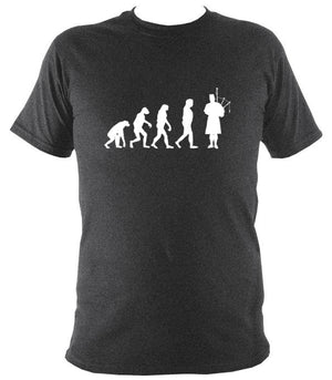 Evolution of Bagpipe Players T-shirt - T-shirt - Dark Heather - Mudchutney
