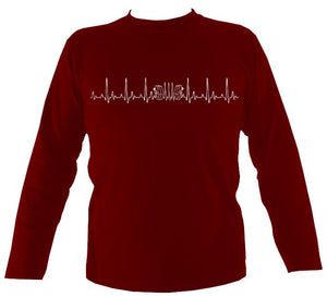 Heartbeat Concertina Mens Long Sleeve Shirt - Long Sleeved Shirt - Cardinal red - Mudchutney