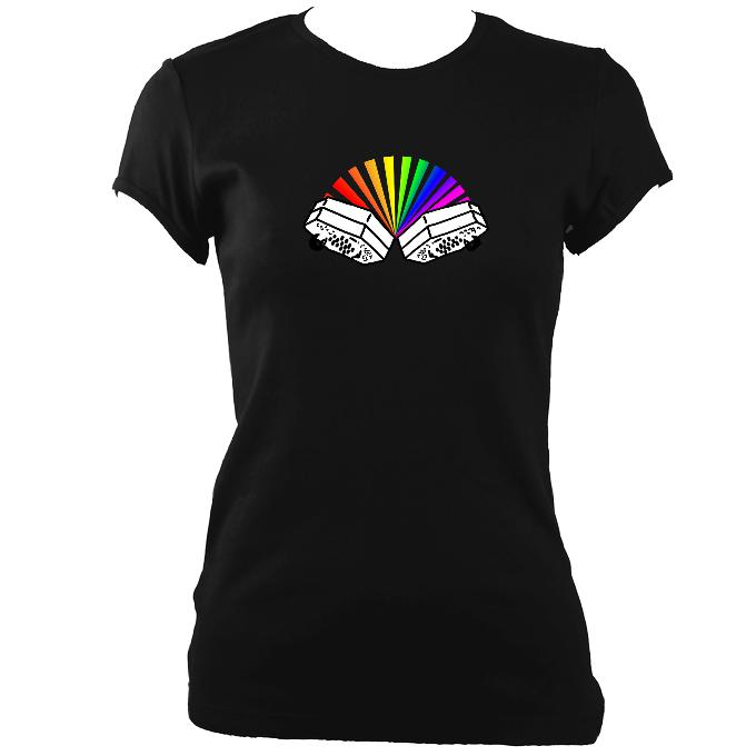 update alt-text with template Rainbow Concertina Ladies Fitted T-shirt - T-shirt - Black - Mudchutney