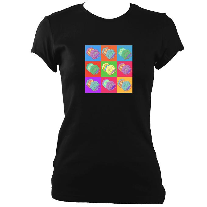 update alt-text with template Warhol style Anglo Concertina Ladies Fitted T-shirt - T-shirt - Black - Mudchutney