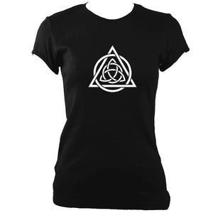 update alt-text with template Celtic Triqueta Ladies Fitted T-shirt - T-shirt - Black - Mudchutney