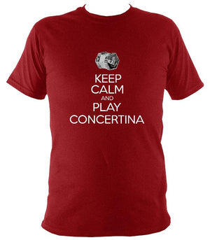 Keep Calm & Play English Concertina T-shirt - T-shirt - Antique Cherry Red - Mudchutney