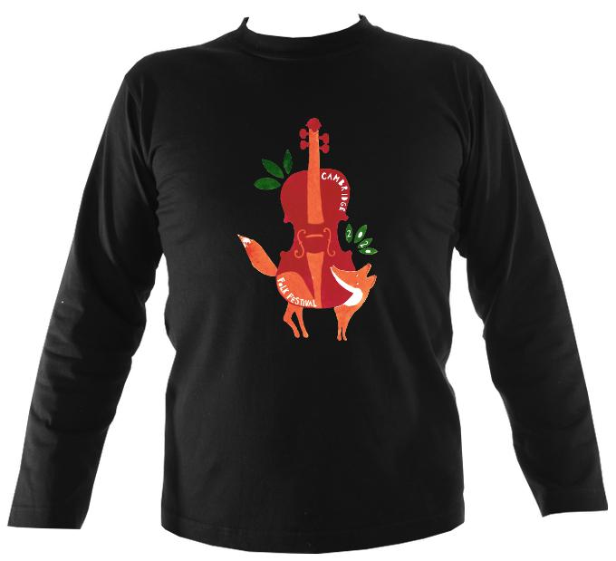 Cambridge Folk Festival - Design 3 - Mens Long Sleeve Shirt - Long Sleeved Shirt - Black - Mudchutney