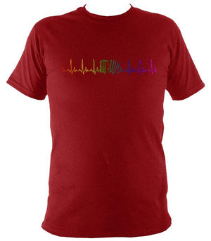 Rainbow Coloured Heartbeat Melodeon T-shirt - T-shirt - Antique Cherry Red - Mudchutney