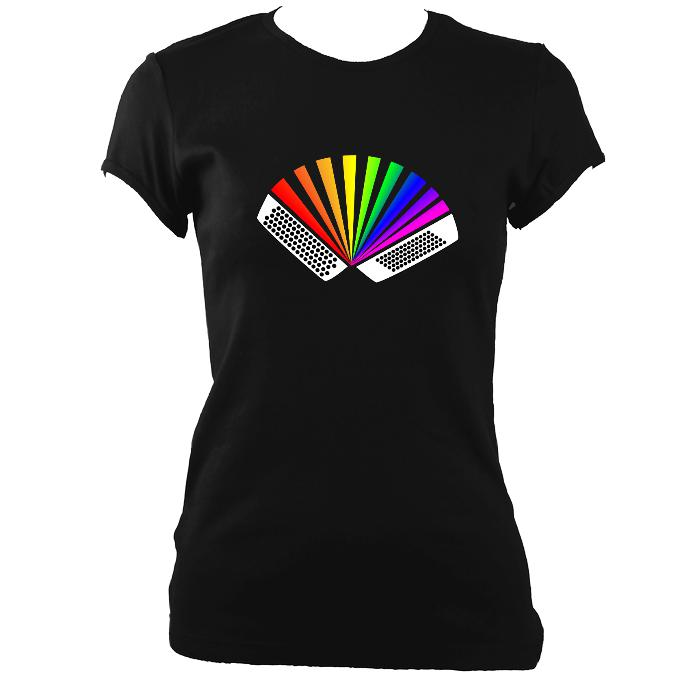 update alt-text with template Rainbow Chromatic Accordion Ladies Fitted T-shirt - T-shirt - Black - Mudchutney