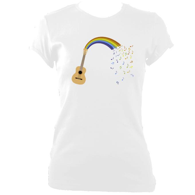 "update alt-text with template """"Rainbow Guitar Spouting Music - T-shirt - White - Mudchutney"