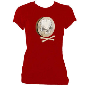 update alt-text with template Bodhran Skull and Crosstippers Ladies Fitted T-Shirt - T-shirt - Antique Cherry Red - Mudchutney