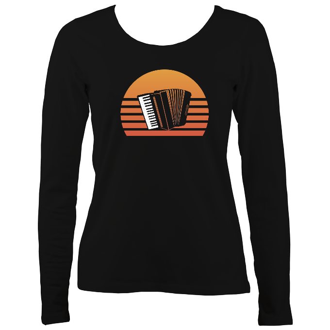 Accordion Sunset Womens Long Sleeve Shirt