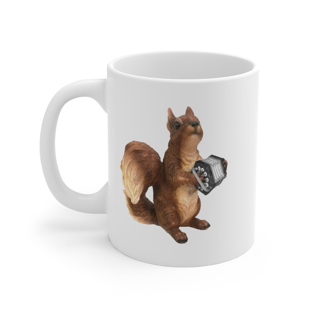 Squirrel Concertina Mug | Concertina playing Squirrel Ceramic Mug | Funny musical giftware