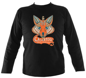 Cambridge Folk Festival - Design 7 - Mens Long Sleeve Shirt - Long Sleeved Shirt - Black - Mudchutney