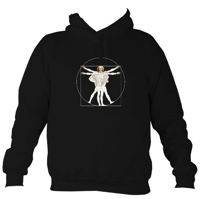 Da Vinci Vitruvian Man Playing Accordion Hoodie-Hoodie-Jet black-Mudchutney