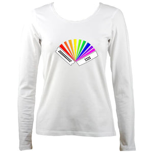 Rainbow Melodeon Ladies Long Sleeve Shirt - Long Sleeved Shirt - White - Mudchutney