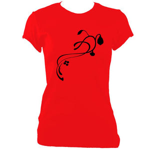 update alt-text with template Ladies Flower Fitted T-shirt - T-shirt - Cherry Red - Mudchutney