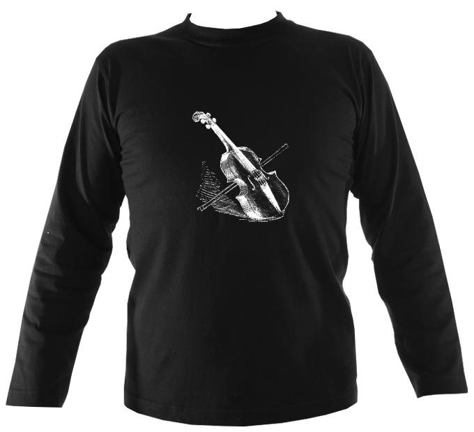 Fiddle and Bow Sketch Mens Long Sleeve Shirt