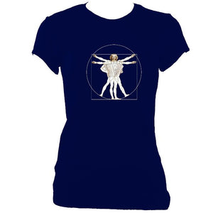 Da Vinci Accordion Ladies Fitted T-shirt-Women's fitted t-shirt-Mudchutney