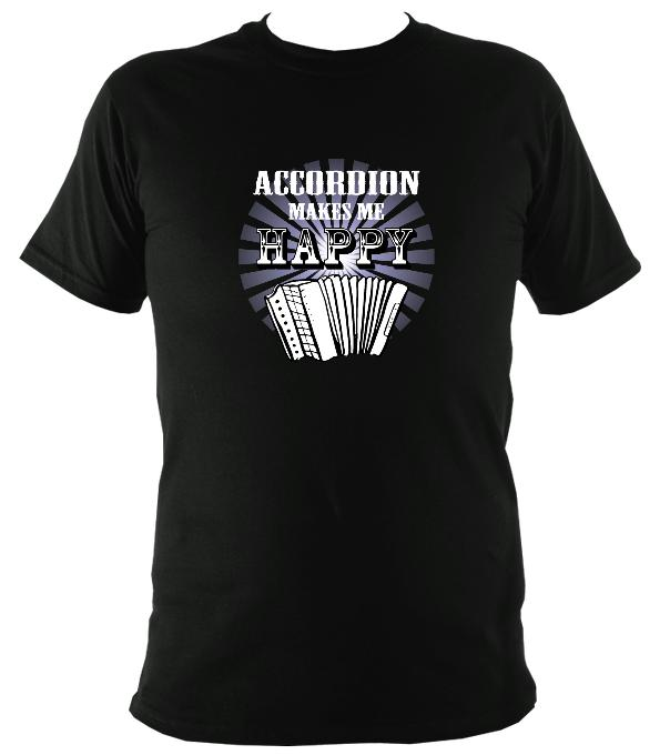 Accordion Makes Me Happy T-shirt - T-shirt - Black - Mudchutney