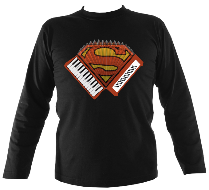 Accordion Superman Mens Long Sleeve Shirt