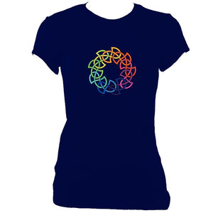 update alt-text with template Rainbow Celtic Knot Ladies Fitted T-shirt - T-shirt - Navy - Mudchutney