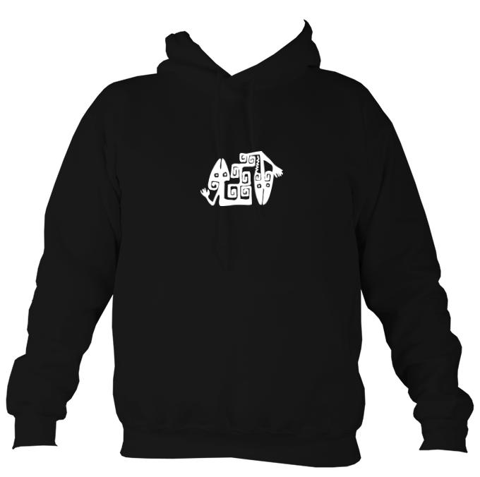 South American Iguana Cave Drawing Hoodie-Hoodie-Jet black-Mudchutney