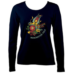 Manchester Folk Ladies Long Sleeve Shirt - Long Sleeved Shirt - Navy - Mudchutney