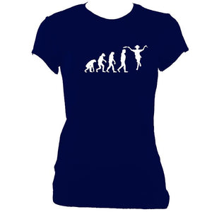 update alt-text with template Evolution of Morris Dancers Ladies Fitted T-shirt - T-shirt - Navy - Mudchutney